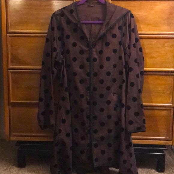 Mycra pac Sz S/M reversible velvet dots raincoat